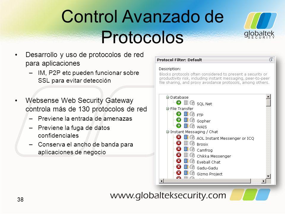 Control Avanzado de Protocolos Desarrollo y uso de protocolos de red para aplicaciones –IM, P2P etc pueden funcionar sobre SSL para evitar detección W