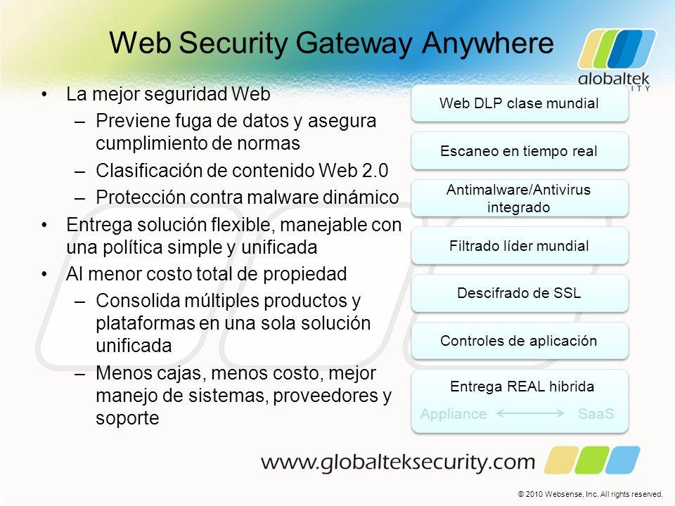 Web Security Gateway Anywhere La mejor seguridad Web –Previene fuga de datos y asegura cumplimiento de normas –Clasificación de contenido Web 2.0 –Pro
