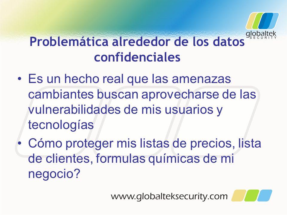 Problemática alrededor de los datos confidenciales Es un hecho real que las amenazas cambiantes buscan aprovecharse de las vulnerabilidades de mis usu