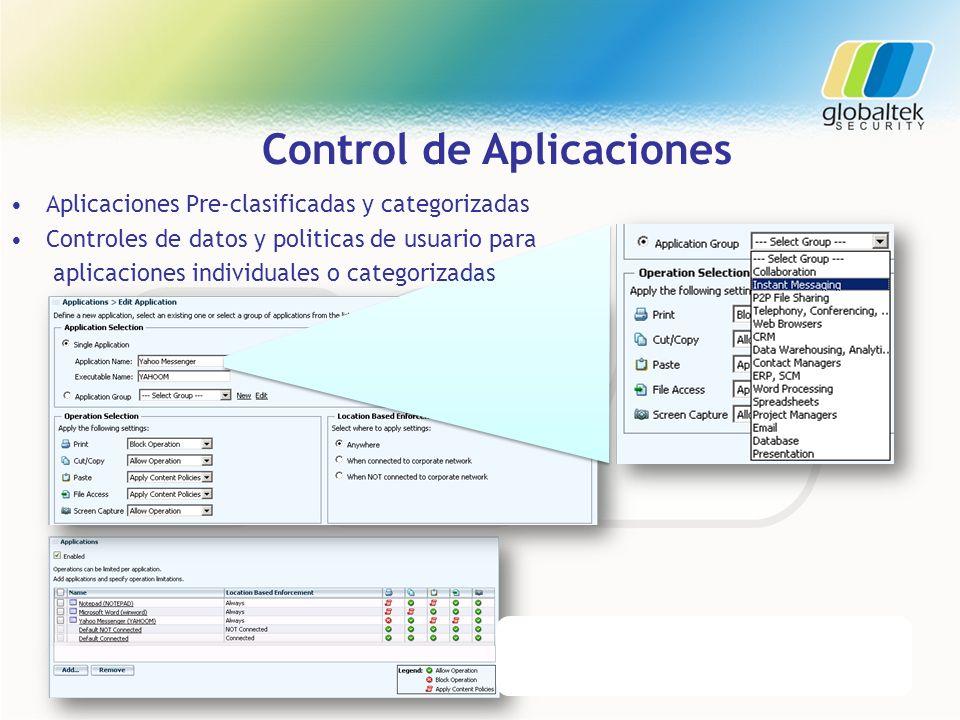 Control de Aplicaciones Aplicaciones Pre-clasificadas y categorizadas Controles de datos y politicas de usuario para aplicaciones individuales o categ