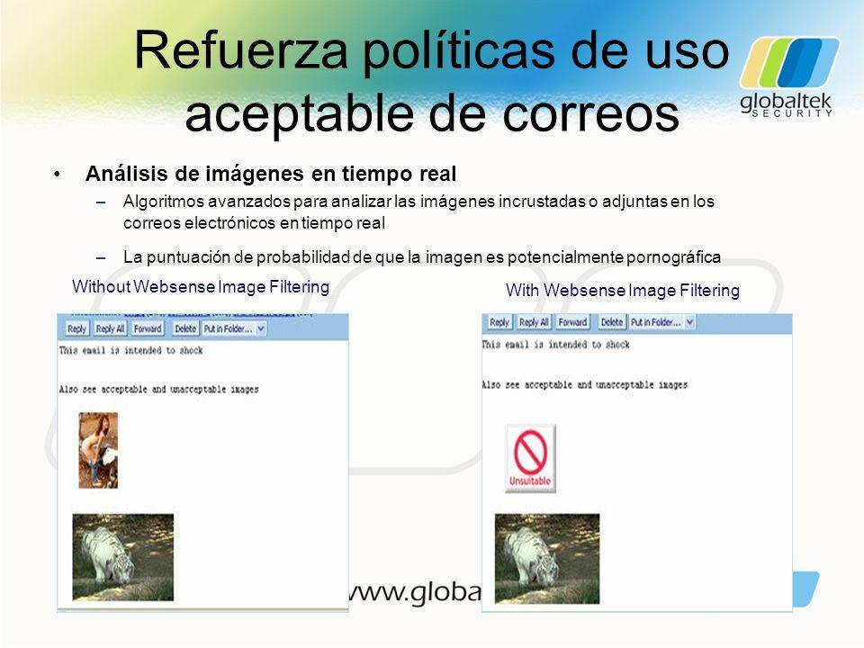 Refuerza políticas de uso aceptable de correos Without Websense Image Filtering With Websense Image Filtering Análisis de imágenes en tiempo real –Alg