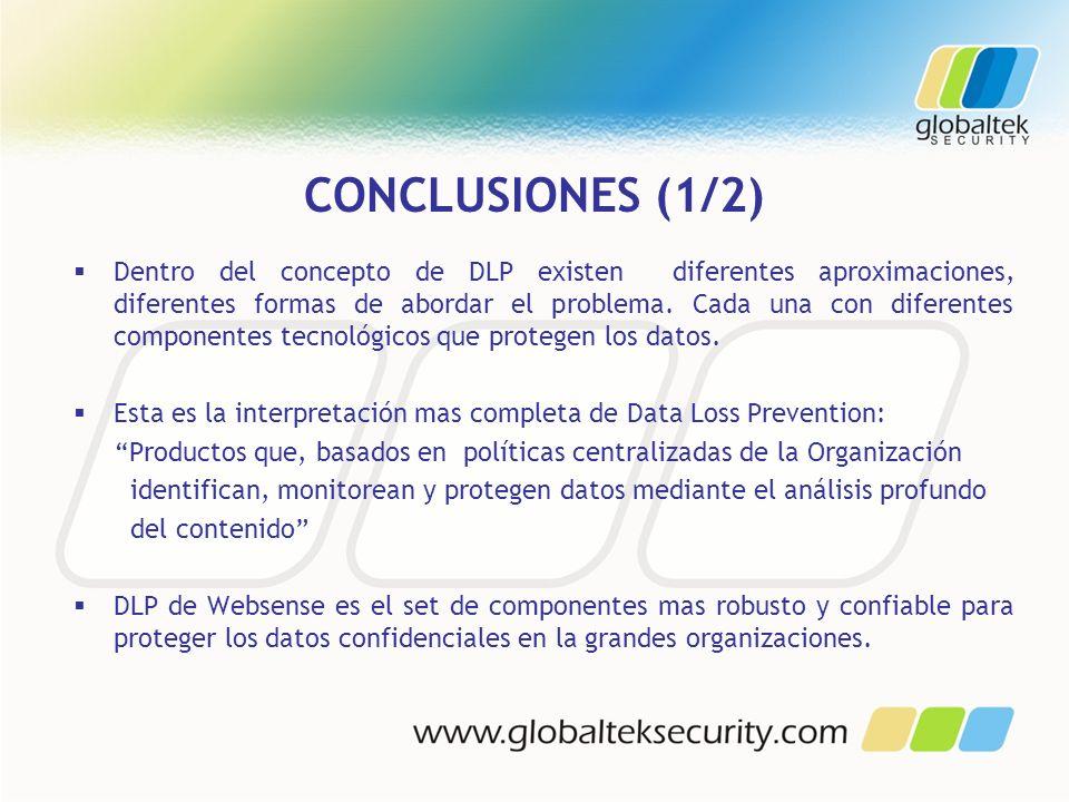 CONCLUSIONES (1/2) Dentro del concepto de DLP existen diferentes aproximaciones, diferentes formas de abordar el problema. Cada una con diferentes com
