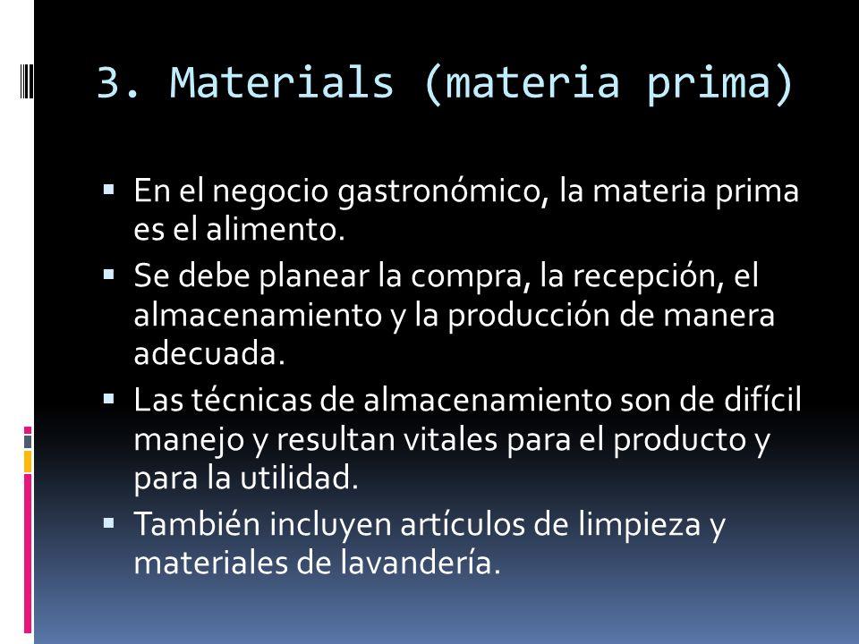 3.Materials (materia prima) En el negocio gastronómico, la materia prima es el alimento.