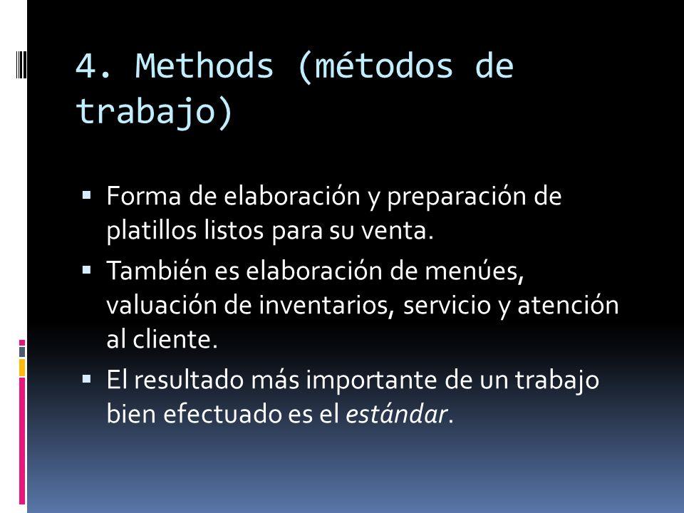 4. Methods (métodos de trabajo) Forma de elaboración y preparación de platillos listos para su venta. También es elaboración de menúes, valuación de i