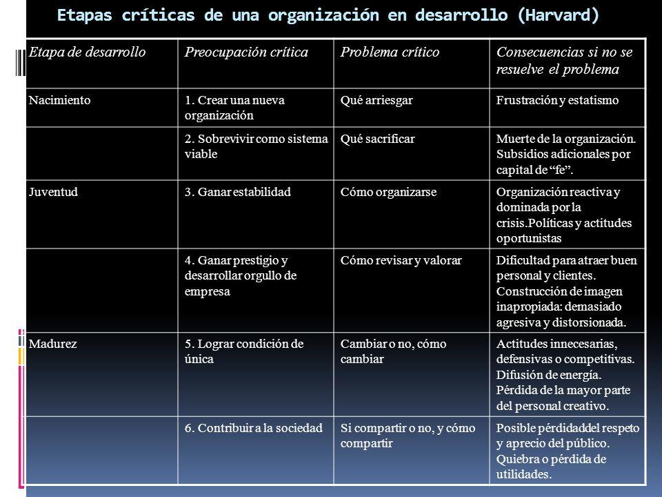 Etapas críticas de una organización en desarrollo (Harvard) Etapa de desarrolloPreocupación críticaProblema críticoConsecuencias si no se resuelve el problema Nacimiento1.