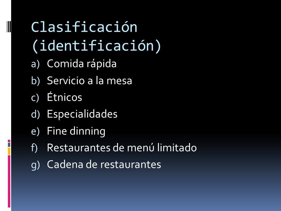 Clasificación (identificación) (2) h) Restaurantes temáticos i) Tops j) Restaurantes familiares k) Cafeterías l) Buffet m) Banquetes n) Servicio de alimentos institucionales o) Alimentos en industrias y negocios