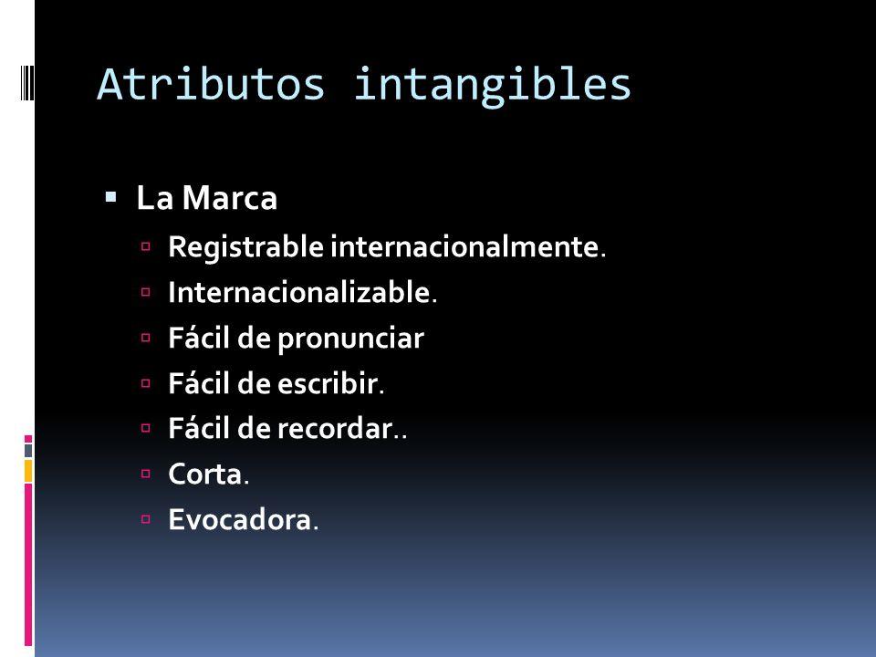 Atributos intangibles La Marca Registrable internacionalmente.