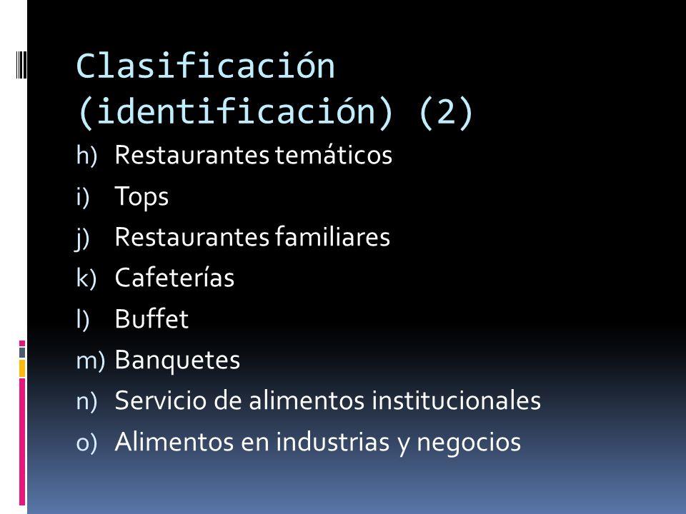 Clasificación (identificación) (3) p) Servicio de alimentos en aerolíneas q) Servicio de alimentos en clubes r) Stands de comida s) Restaurantes de vecindario t) Drive through u) Servicio para llevar
