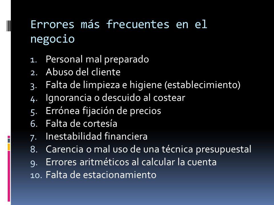 Errores más frecuentes en el negocio (2) 11.Inconformidad del mesero con la propina 12.