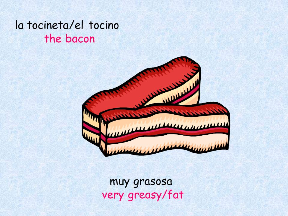 la tocineta/el tocino the bacon muy grasosa very greasy/fat