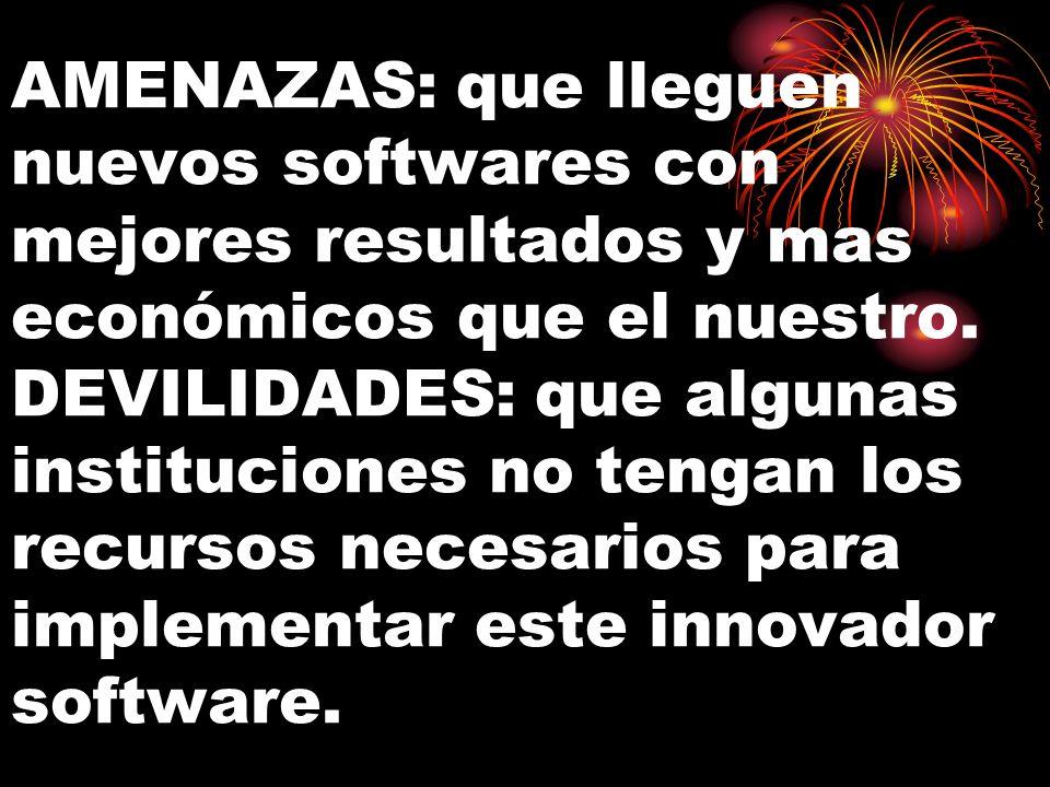 AMENAZAS: que lleguen nuevos softwares con mejores resultados y mas económicos que el nuestro. DEVILIDADES: que algunas instituciones no tengan los re