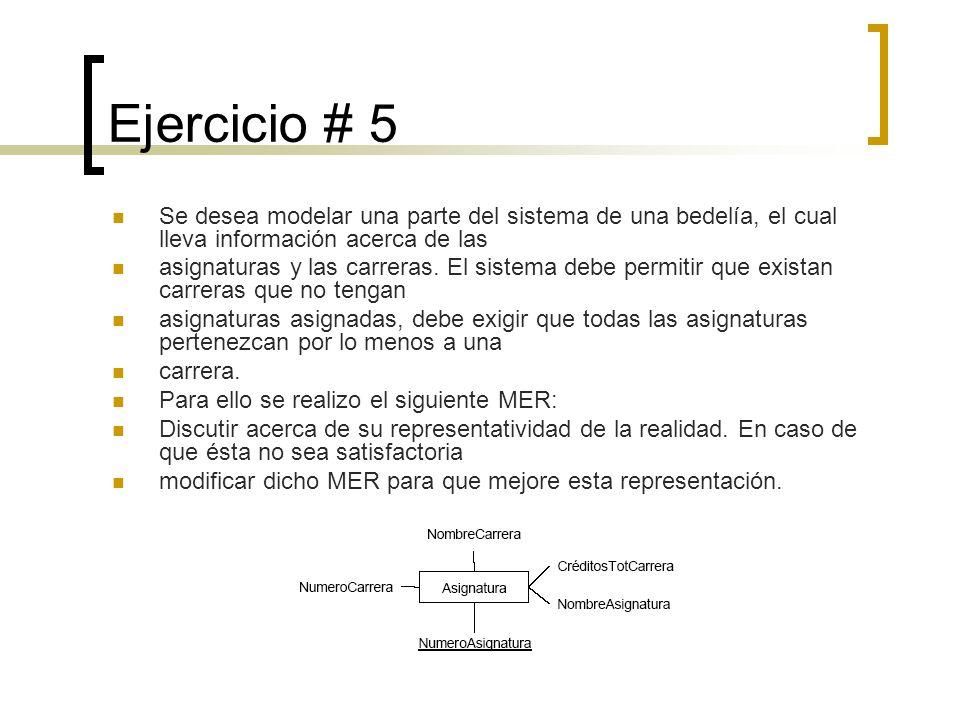 Ejercicio # 5 Se desea modelar una parte del sistema de una bedelía, el cual lleva información acerca de las asignaturas y las carreras. El sistema de
