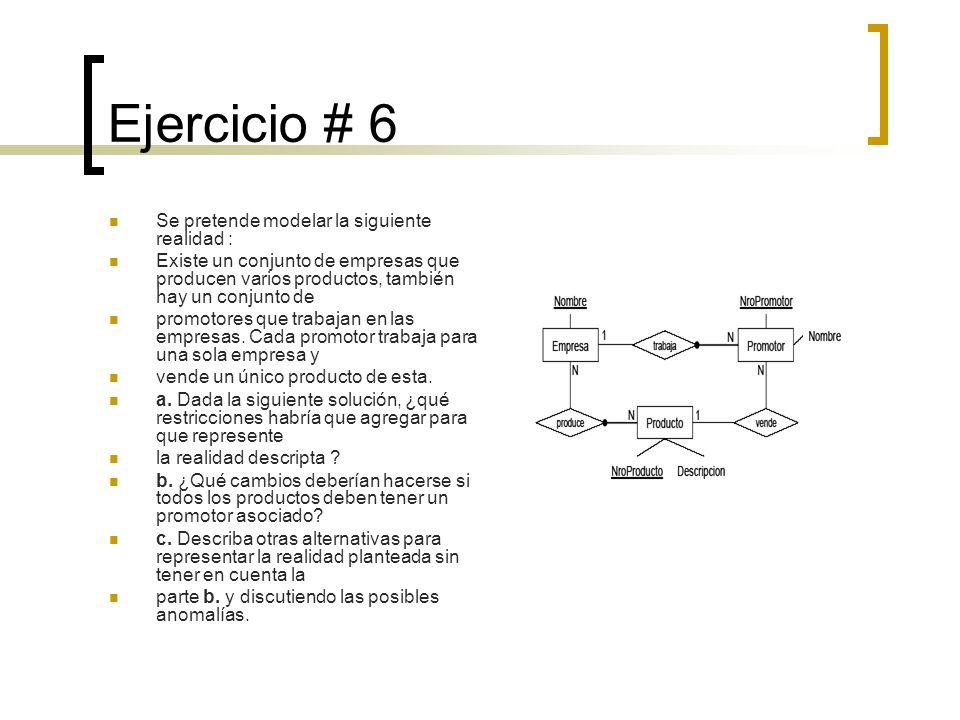 Ejercicio # 6 Se pretende modelar la siguiente realidad : Existe un conjunto de empresas que producen varios productos, también hay un conjunto de pro