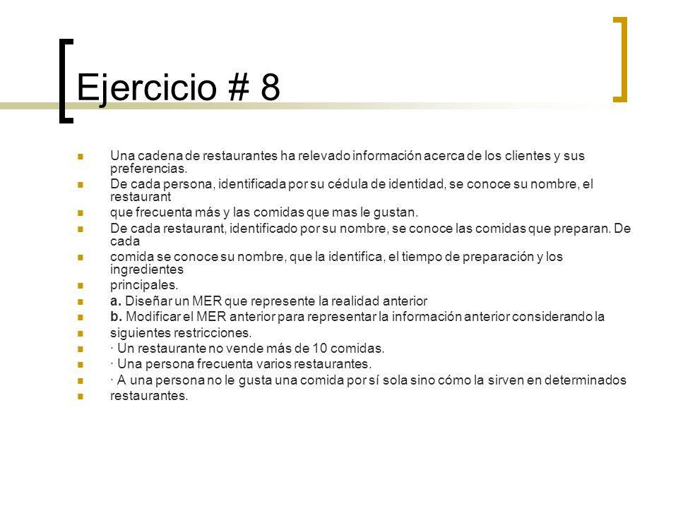 Ejercicio # 8 Una cadena de restaurantes ha relevado información acerca de los clientes y sus preferencias. De cada persona, identificada por su cédul