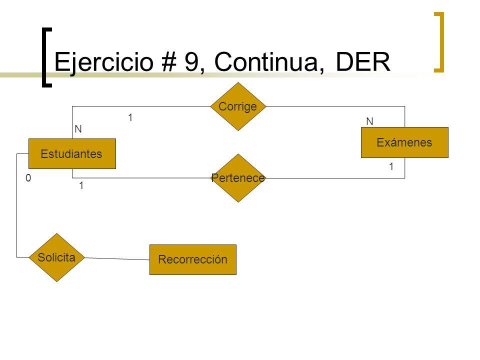 Ejercicio # 9, Continua, DER Estudiantes Corrige Pertenece Exámenes Solicita Recorrección 1 N 1 N 1 0