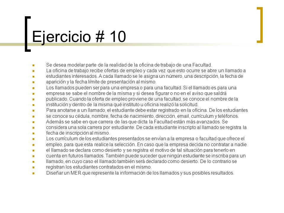 Ejercicio # 10 Se desea modelar parte de la realidad de la oficina de trabajo de una Facultad. La oficina de trabajo recibe ofertas de empleo y cada v
