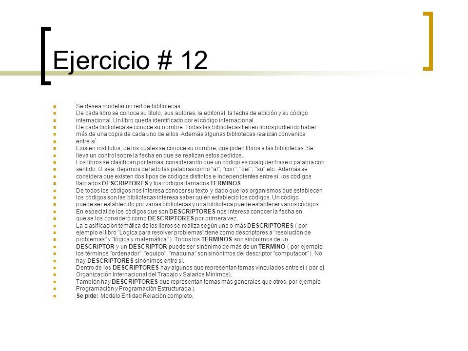 Ejercicio # 12 Se desea modelar un red de bibliotecas. De cada libro se conoce su título, sus autores, la editorial, la fecha de edición y su código i
