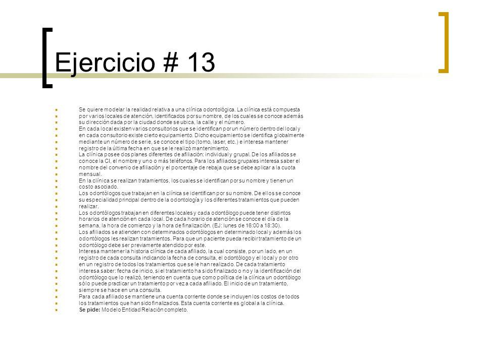 Ejercicio # 13 Se quiere modelar la realidad relativa a una clínica odontológica. La clínica está compuesta por varios locales de atención, identifica
