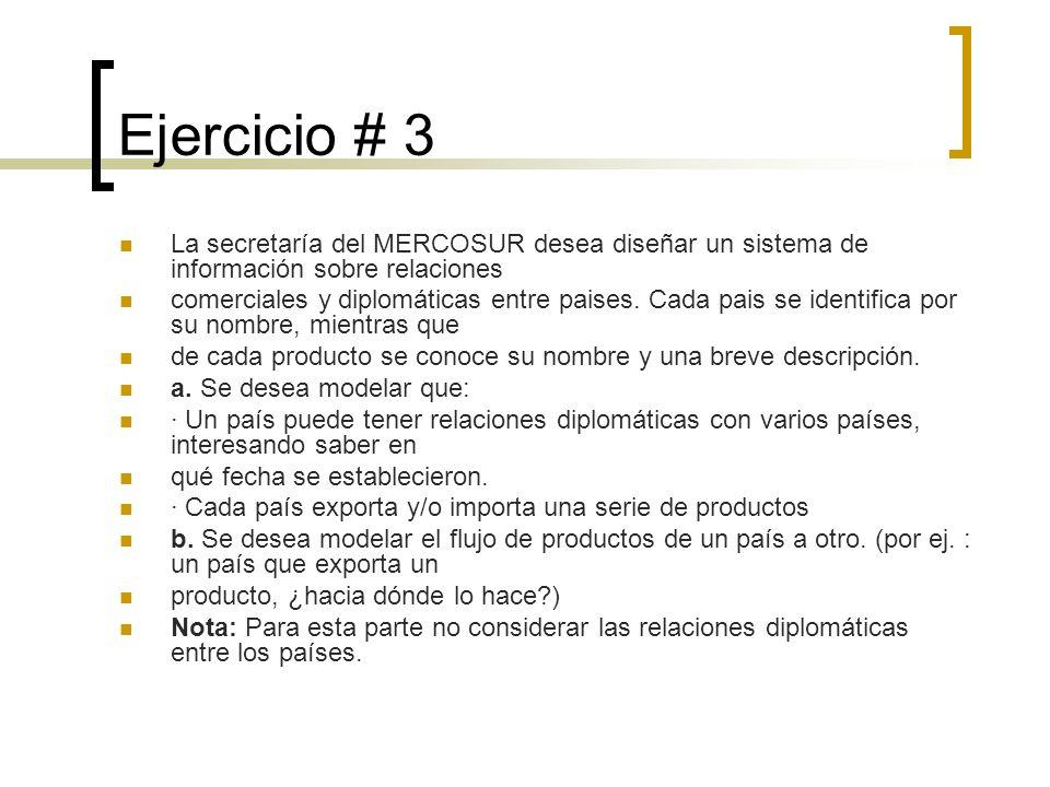 Ejercicio # 3 La secretaría del MERCOSUR desea diseñar un sistema de información sobre relaciones comerciales y diplomáticas entre paises. Cada pais s