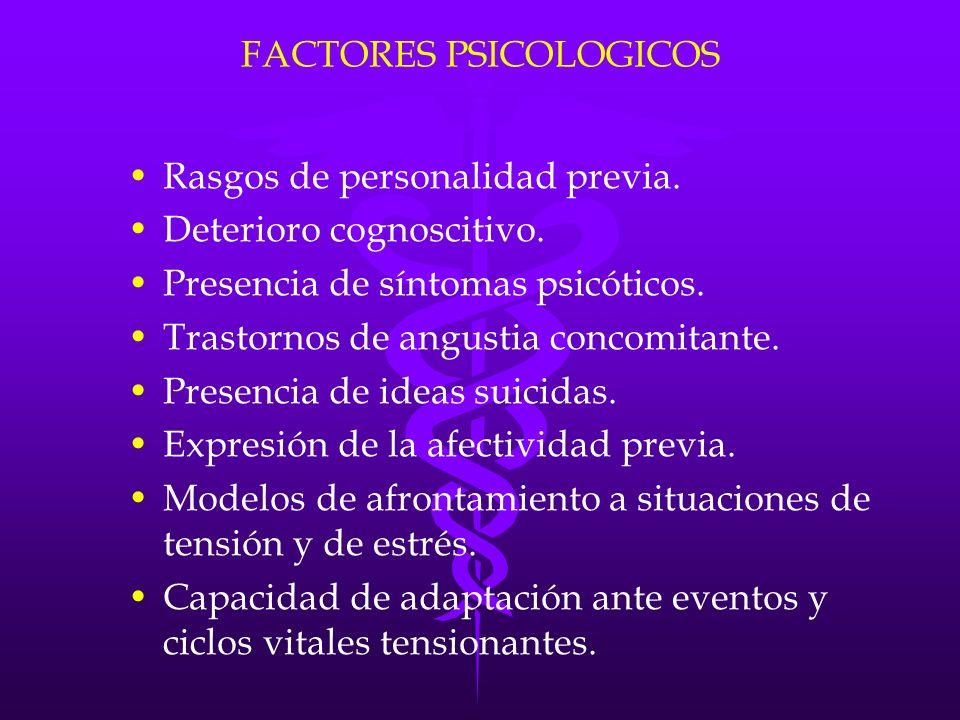 FACTORES PSICOLOGICOS Rasgos de personalidad previa. Deterioro cognoscitivo. Presencia de síntomas psicóticos. Trastornos de angustia concomitante. Pr
