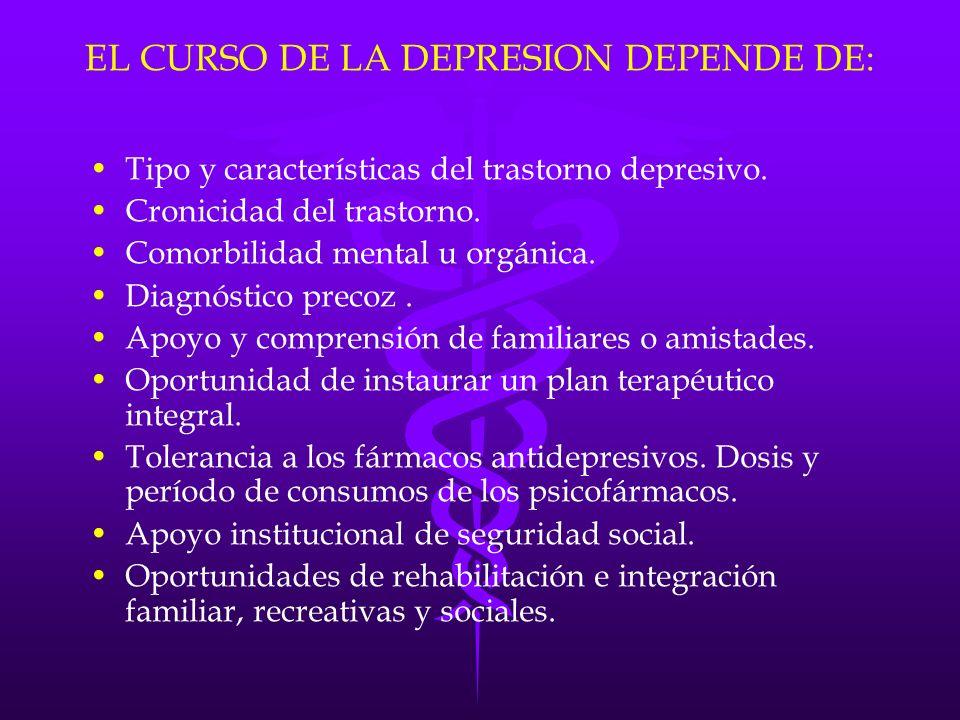 EL CURSO DE LA DEPRESION DEPENDE DE: Tipo y características del trastorno depresivo. Cronicidad del trastorno. Comorbilidad mental u orgánica. Diagnós
