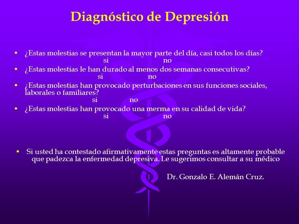 Diagnóstico de Depresión ¿Estas molestias se presentan la mayor parte del día, casi todos los días? sino ¿Estas molestias le han durado al menos dos s