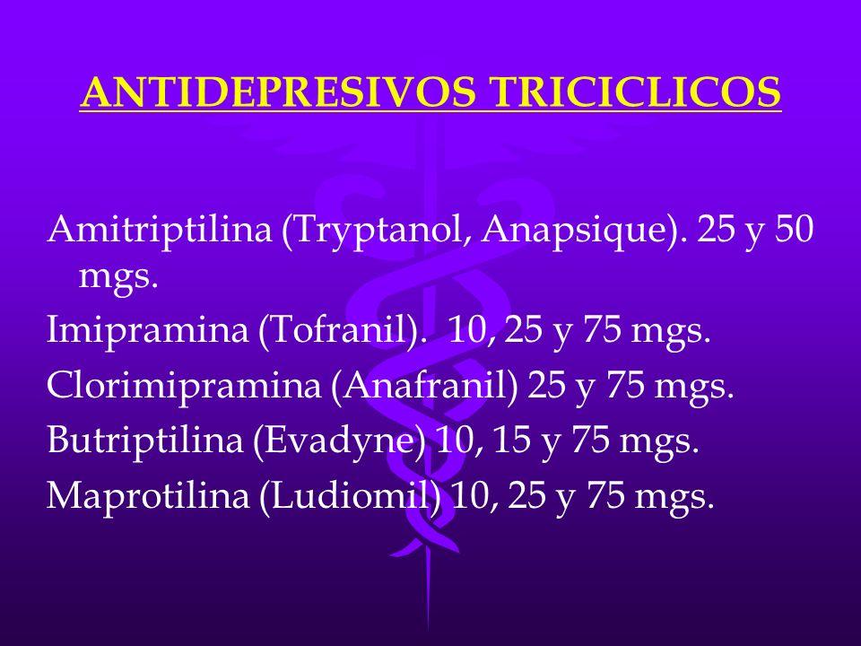 ANTIDEPRESIVOS TRICICLICOS Amitriptilina (Tryptanol, Anapsique). 25 y 50 mgs. Imipramina (Tofranil). 10, 25 y 75 mgs. Clorimipramina (Anafranil) 25 y