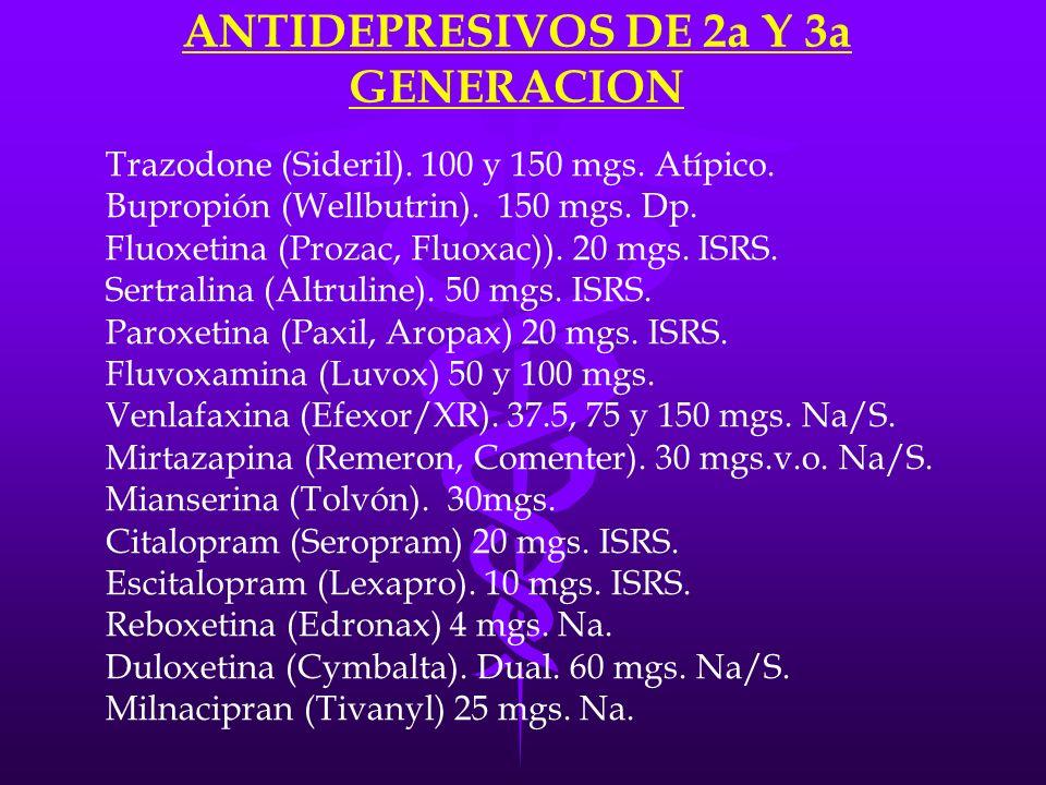 ANTIDEPRESIVOS DE 2a Y 3a GENERACION Trazodone (Sideril). 100 y 150 mgs. Atípico. Bupropión (Wellbutrin). 150 mgs. Dp. Fluoxetina (Prozac, Fluoxac)).