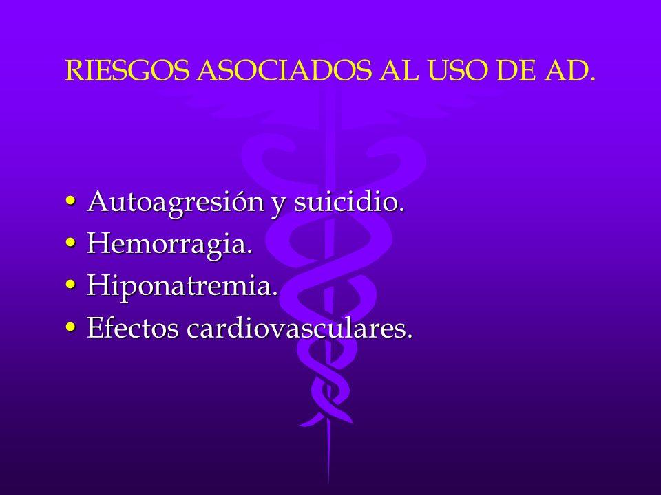 RIESGOS ASOCIADOS AL USO DE AD. Autoagresión y suicidio.Autoagresión y suicidio. Hemorragia.Hemorragia. Hiponatremia.Hiponatremia. Efectos cardiovascu