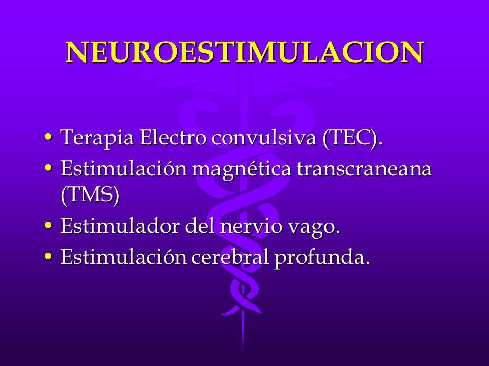 NEUROESTIMULACION Terapia Electro convulsiva (TEC).Terapia Electro convulsiva (TEC). Estimulación magnética transcraneana (TMS)Estimulación magnética