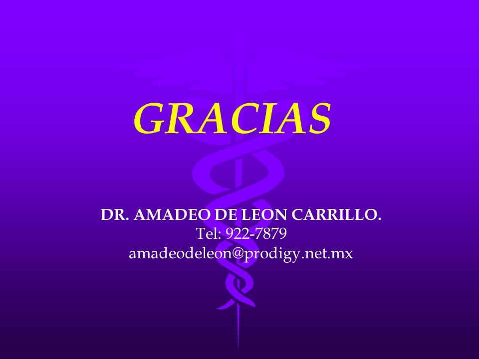 GRACIAS DR. AMADEO DE LEON CARRILLO. Tel: 922-7879 amadeodeleon@prodigy.net.mx