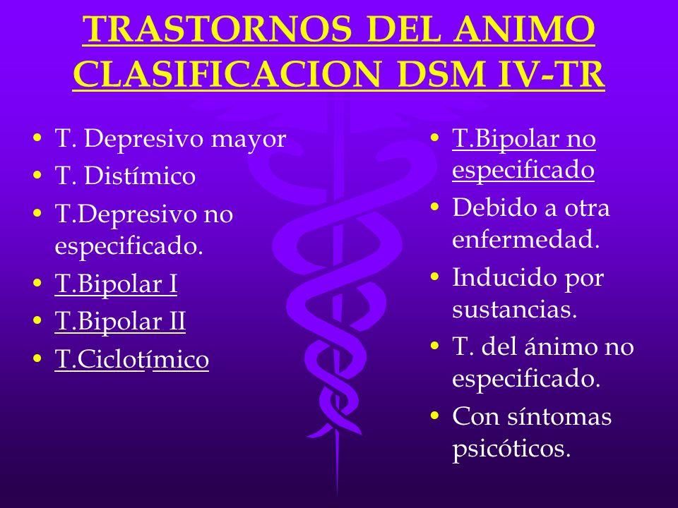 TRASTORNOS DEL ANIMO CLASIFICACION DSM IV-TR T. Depresivo mayor T. Distímico T.Depresivo no especificado. T.Bipolar I T.Bipolar II T.Ciclotímico T.Bip