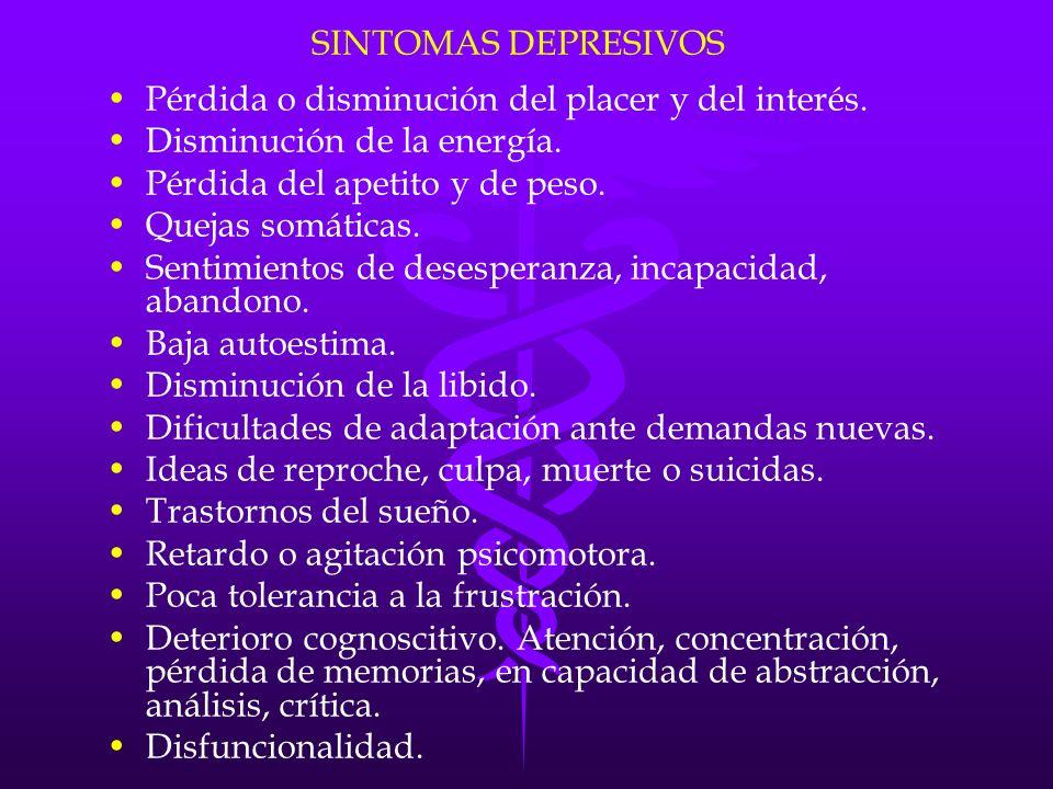 DEMENCIA Y DEPRESION 20% Estados depresivos.86% Síntomas depresivos.