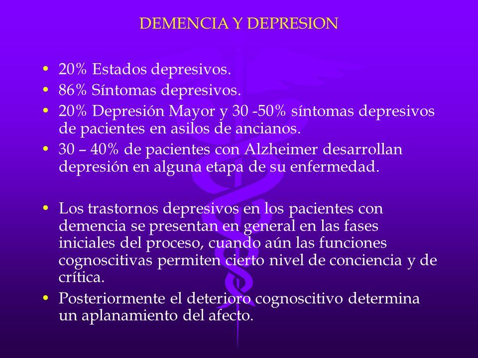 DEMENCIA Y DEPRESION 20% Estados depresivos. 86% Síntomas depresivos. 20% Depresión Mayor y 30 -50% síntomas depresivos de pacientes en asilos de anci