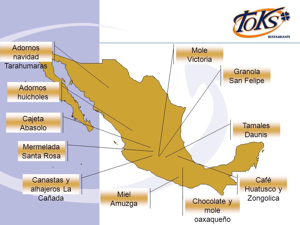 Mermelada Santa Rosa Canastas y alhajeros La Cañada Miel Amuzga Mole Victoria Granola San Felipe Adornos navidad Tarahumaras Tamales Daunis Café Huatu