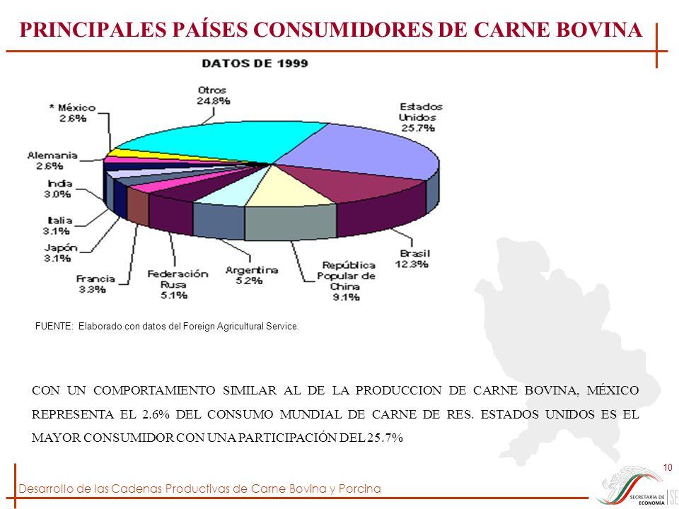 Desarrollo de las Cadenas Productivas de Carne Bovina y Porcina 10 PRINCIPALES PAÍSES CONSUMIDORES DE CARNE BOVINA FUENTE: Elaborado con datos del For