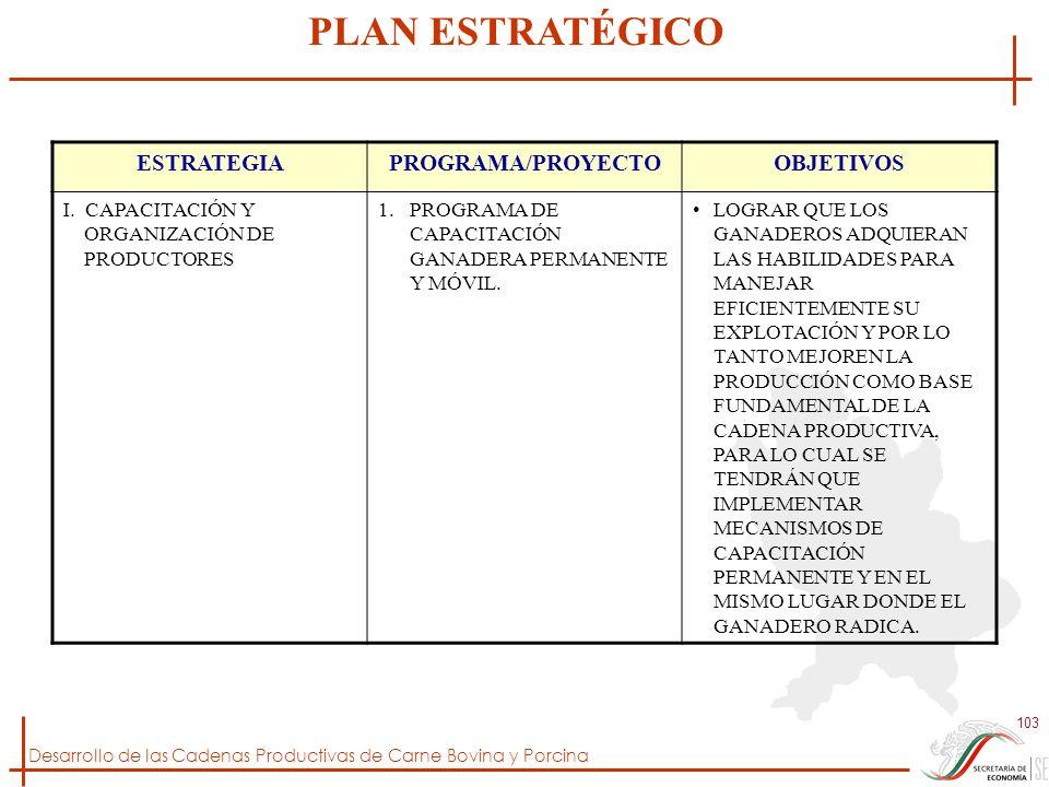 Desarrollo de las Cadenas Productivas de Carne Bovina y Porcina 103 ESTRATEGIAPROGRAMA/PROYECTOOBJETIVOS I. CAPACITACIÓN Y ORGANIZACIÓN DE PRODUCTORES