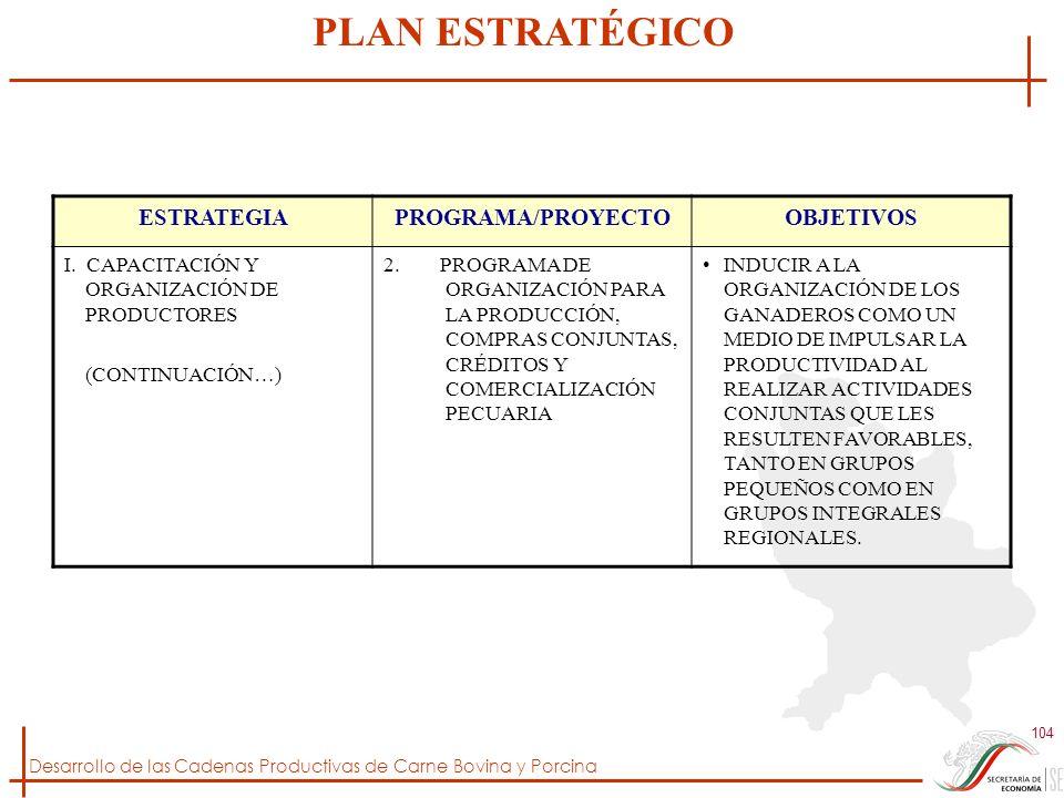 Desarrollo de las Cadenas Productivas de Carne Bovina y Porcina 104 ESTRATEGIAPROGRAMA/PROYECTOOBJETIVOS I. CAPACITACIÓN Y ORGANIZACIÓN DE PRODUCTORES