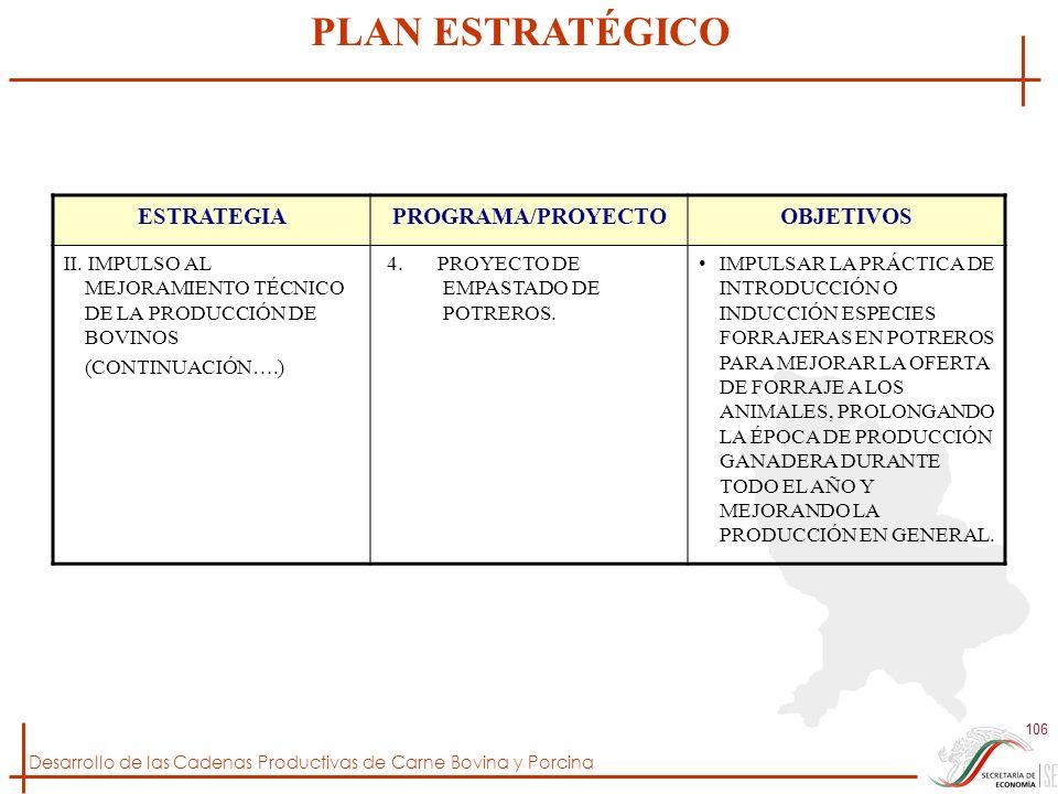 Desarrollo de las Cadenas Productivas de Carne Bovina y Porcina 106 ESTRATEGIAPROGRAMA/PROYECTOOBJETIVOS II. IMPULSO AL MEJORAMIENTO TÉCNICO DE LA PRO