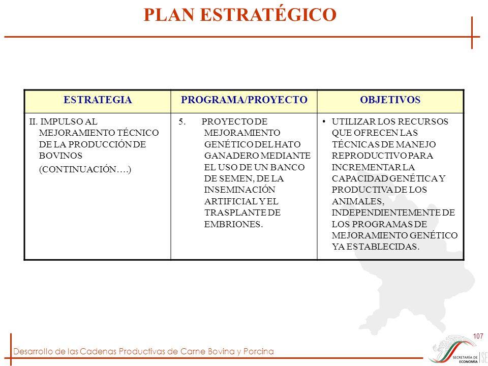 Desarrollo de las Cadenas Productivas de Carne Bovina y Porcina 107 ESTRATEGIAPROGRAMA/PROYECTOOBJETIVOS II. IMPULSO AL MEJORAMIENTO TÉCNICO DE LA PRO