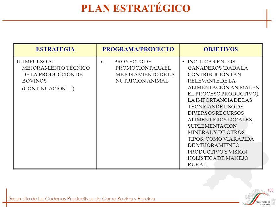 Desarrollo de las Cadenas Productivas de Carne Bovina y Porcina 108 ESTRATEGIAPROGRAMA/PROYECTOOBJETIVOS II. IMPULSO AL MEJORAMIENTO TÉCNICO DE LA PRO