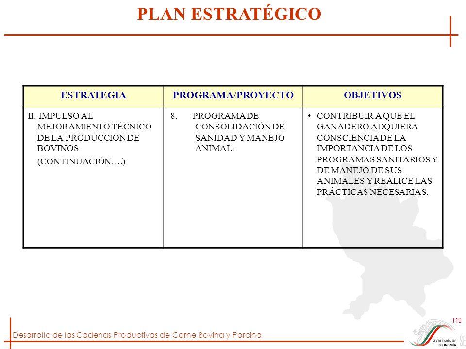 Desarrollo de las Cadenas Productivas de Carne Bovina y Porcina 110 ESTRATEGIAPROGRAMA/PROYECTOOBJETIVOS II. IMPULSO AL MEJORAMIENTO TÉCNICO DE LA PRO