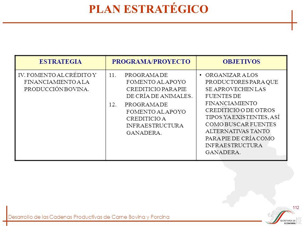 Desarrollo de las Cadenas Productivas de Carne Bovina y Porcina 112 ESTRATEGIAPROGRAMA/PROYECTOOBJETIVOS IV. FOMENTO AL CRÉDITO Y FINANCIAMIENTO A LA