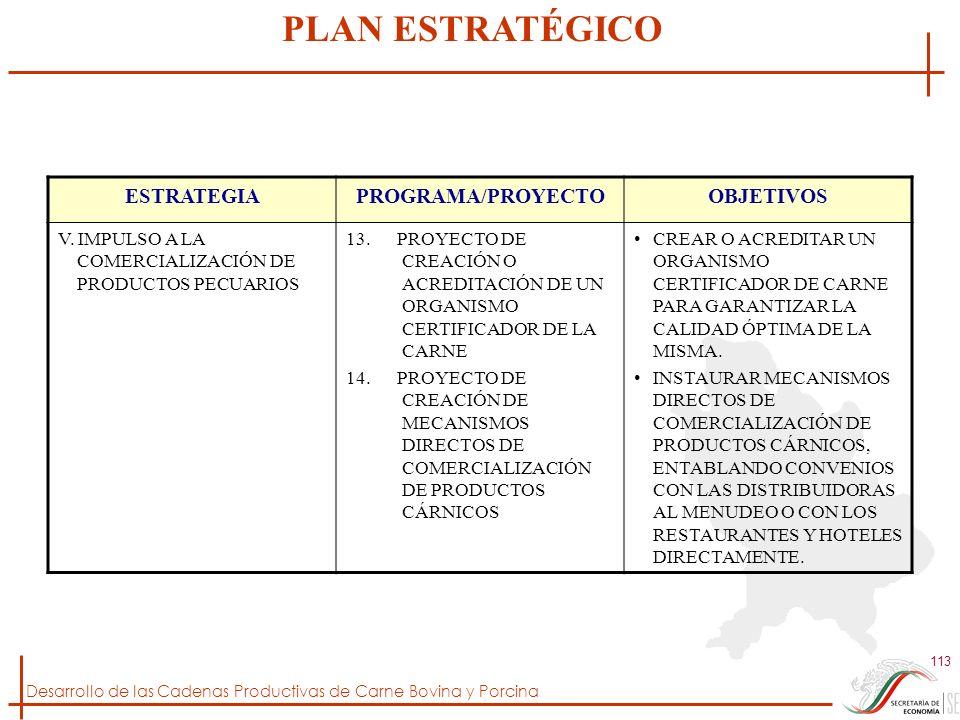 Desarrollo de las Cadenas Productivas de Carne Bovina y Porcina 113 ESTRATEGIAPROGRAMA/PROYECTOOBJETIVOS V. IMPULSO A LA COMERCIALIZACIÓN DE PRODUCTOS