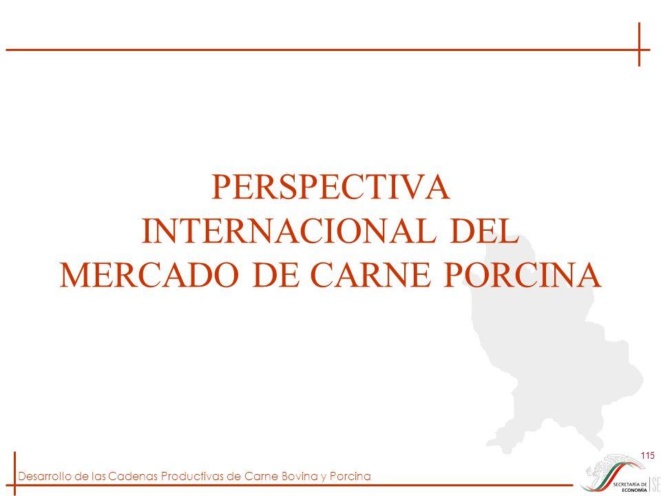 Desarrollo de las Cadenas Productivas de Carne Bovina y Porcina 115 PERSPECTIVA INTERNACIONAL DEL MERCADO DE CARNE PORCINA