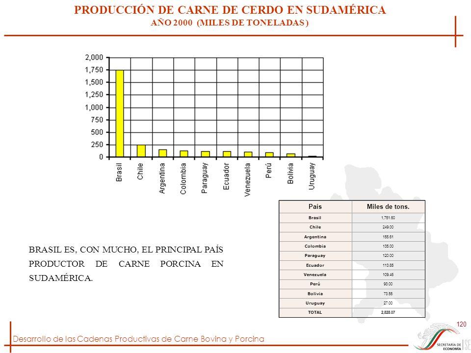 Desarrollo de las Cadenas Productivas de Carne Bovina y Porcina 120 PRODUCCIÓN DE CARNE DE CERDO EN SUDAMÉRICA AÑO 2000 (MILES DE TONELADAS ) PaísMile
