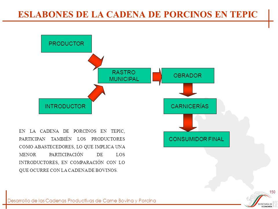Desarrollo de las Cadenas Productivas de Carne Bovina y Porcina 150 ESLABONES DE LA CADENA DE PORCINOS EN TEPIC PRODUCTOR INTRODUCTOR RASTRO MUNICIPAL