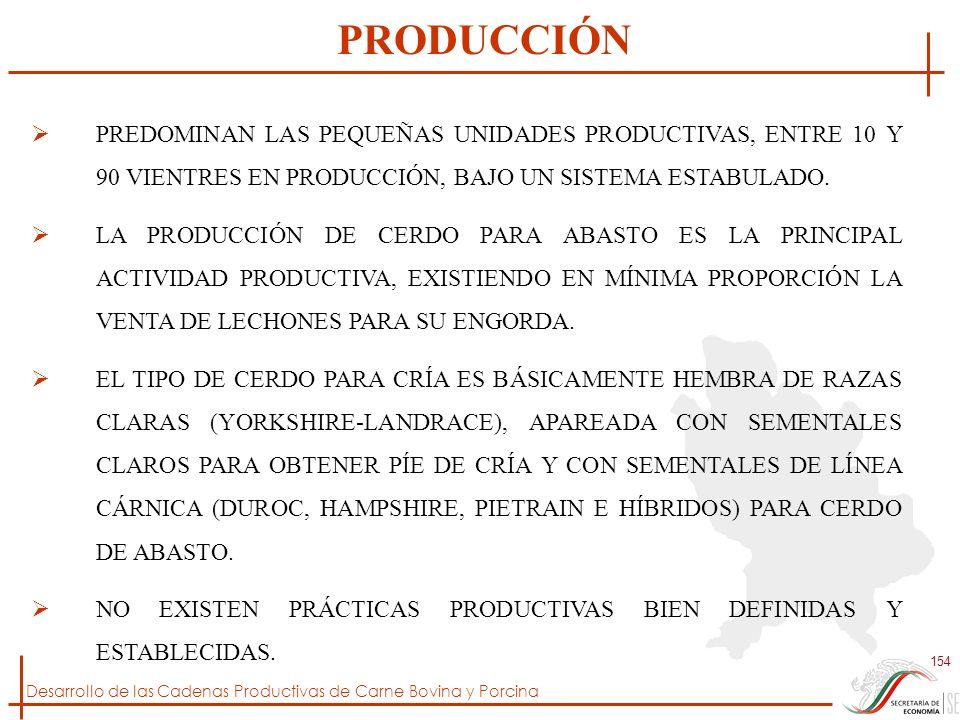 Desarrollo de las Cadenas Productivas de Carne Bovina y Porcina 154 PREDOMINAN LAS PEQUEÑAS UNIDADES PRODUCTIVAS, ENTRE 10 Y 90 VIENTRES EN PRODUCCIÓN