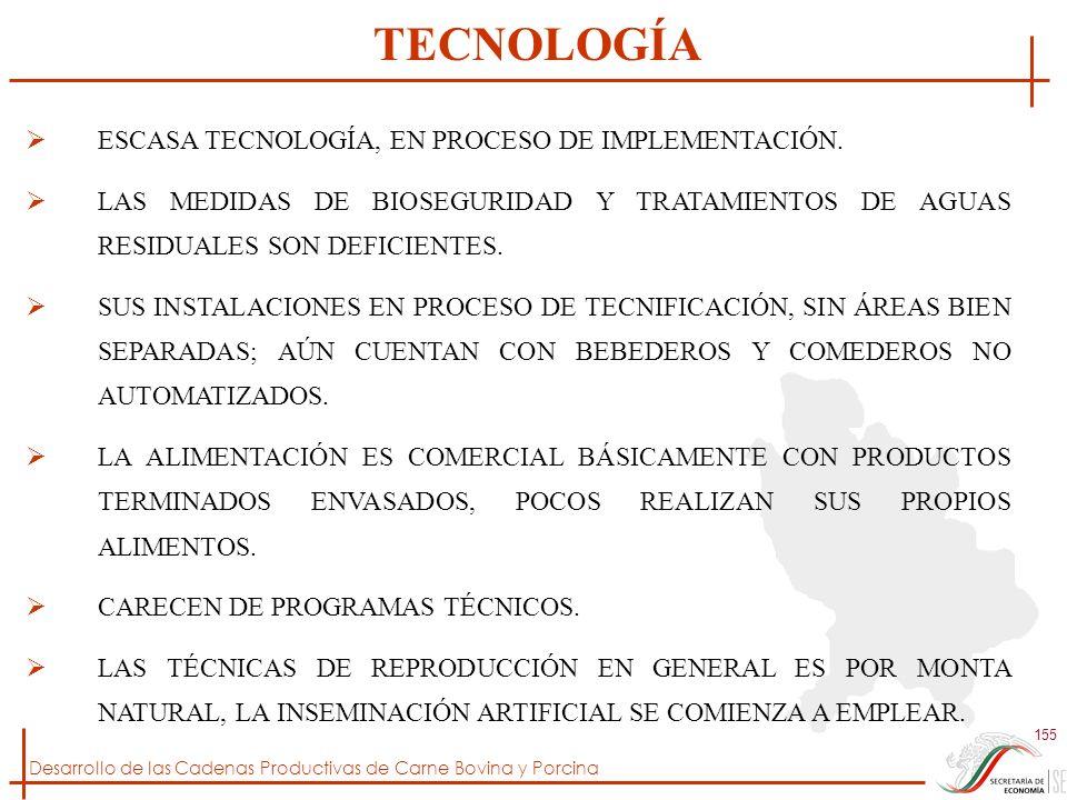 Desarrollo de las Cadenas Productivas de Carne Bovina y Porcina 155 ESCASA TECNOLOGÍA, EN PROCESO DE IMPLEMENTACIÓN. LAS MEDIDAS DE BIOSEGURIDAD Y TRA