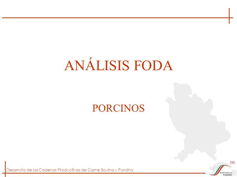 Desarrollo de las Cadenas Productivas de Carne Bovina y Porcina 159 ANÁLISIS FODA PORCINOS